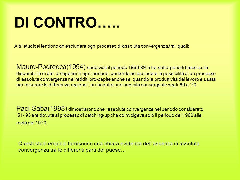 DI CONTRO….. Altri studiosi tendono ad escludere ogni processo di assoluta convergenza,tra i quali: Mauro-Podrecca(1994) suddivide il periodo 1963-89