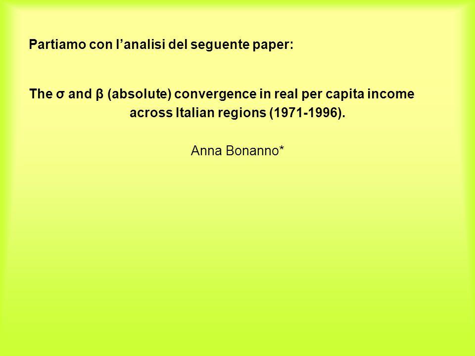 Partiamo con l'analisi del seguente paper: The σ and β (absolute) convergence in real per capita income across Italian regions (1971-1996). Anna Bonan