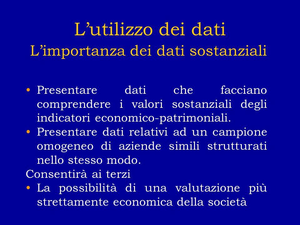 L'utilizzo dei dati L'importanza dei dati sostanziali Presentare dati che facciano comprendere i valori sostanziali degli indicatori economico-patrimoniali.