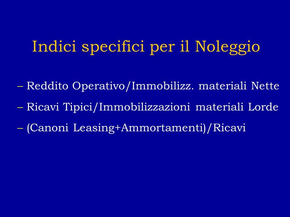 Indici specifici per il Noleggio –Reddito Operativo/Immobilizz.
