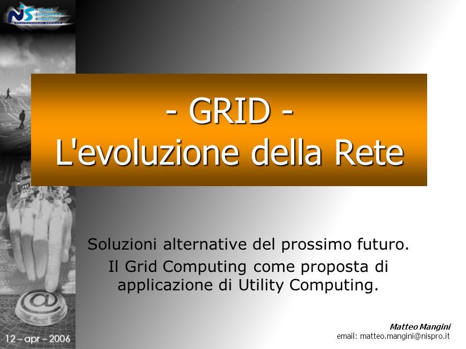 12 – apr – 2006 Soluzioni alternative del prossimo futuro.