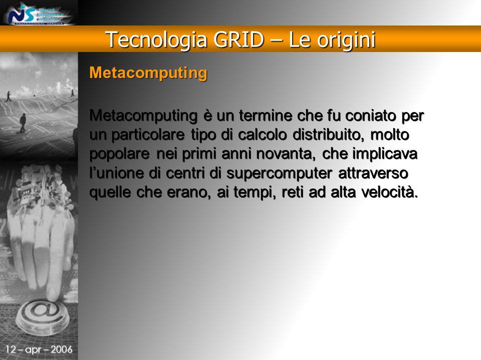 12 – apr – 2006 Metacomputing Metacomputing è un termine che fu coniato per un particolare tipo di calcolo distribuito, molto popolare nei primi anni novanta, che implicava l'unione di centri di supercomputer attraverso quelle che erano, ai tempi, reti ad alta velocità.