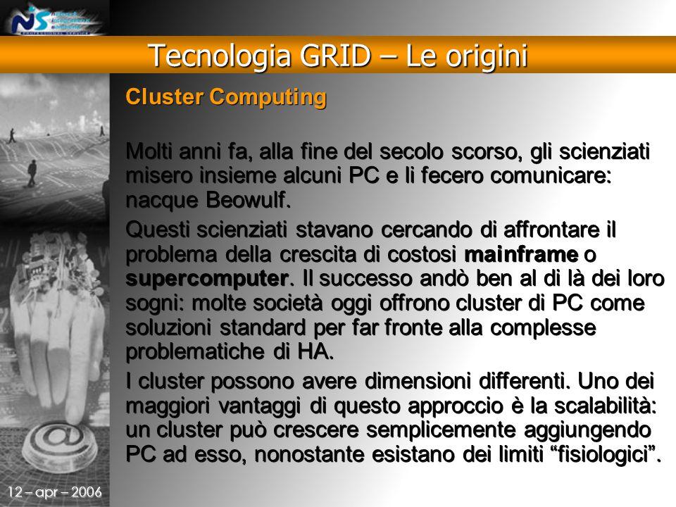 12 – apr – 2006 Cluster Computing Molti anni fa, alla fine del secolo scorso, gli scienziati misero insieme alcuni PC e li fecero comunicare: nacque Beowulf.
