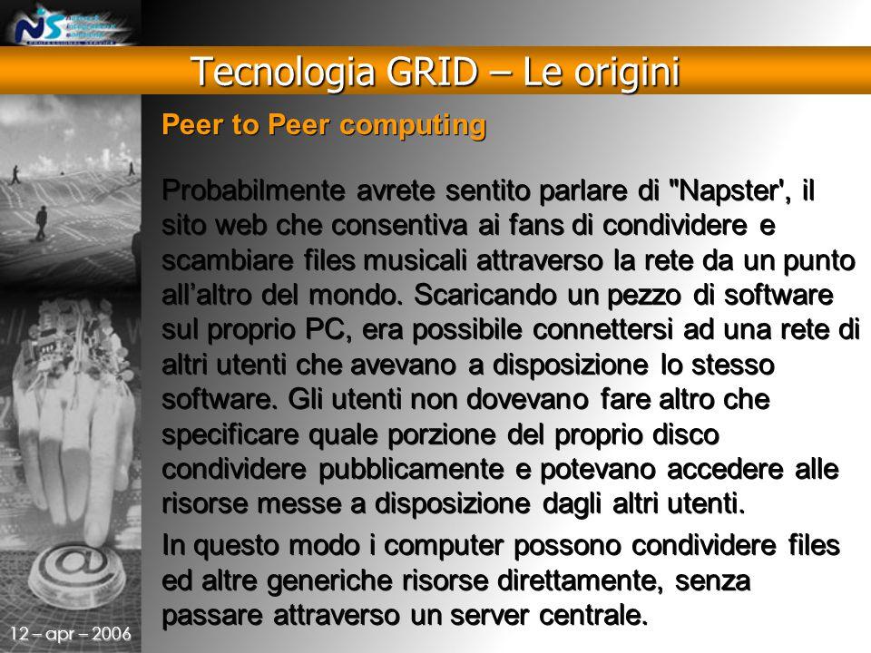 12 – apr – 2006 Peer to Peer computing Probabilmente avrete sentito parlare di Napster , il sito web che consentiva ai fans di condividere e scambiare files musicali attraverso la rete da un punto all'altro del mondo.