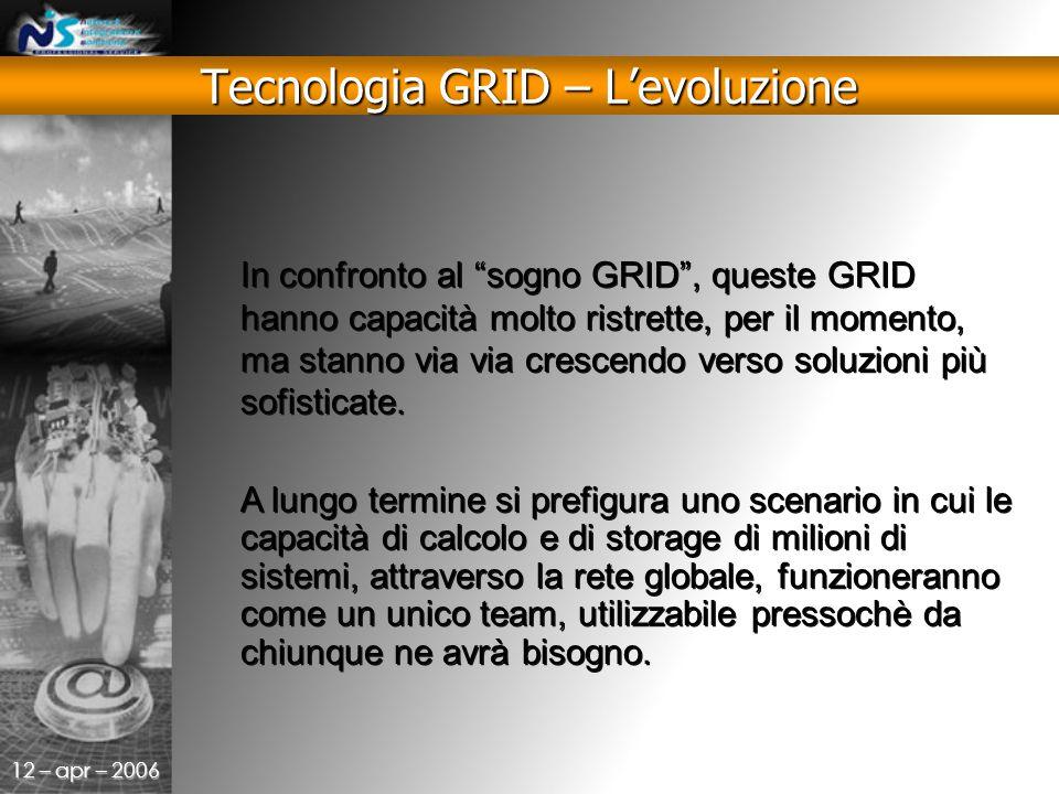 12 – apr – 2006 In confronto al sogno GRID , queste GRID hanno capacità molto ristrette, per il momento, ma stanno via via crescendo verso soluzioni più sofisticate.
