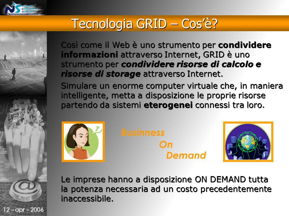 12 – apr – 2006 Così come il Web è uno strumento per condividere informazioni attraverso Internet, GRID è uno strumento per condividere risorse di calcolo e risorse di storage attraverso Internet.