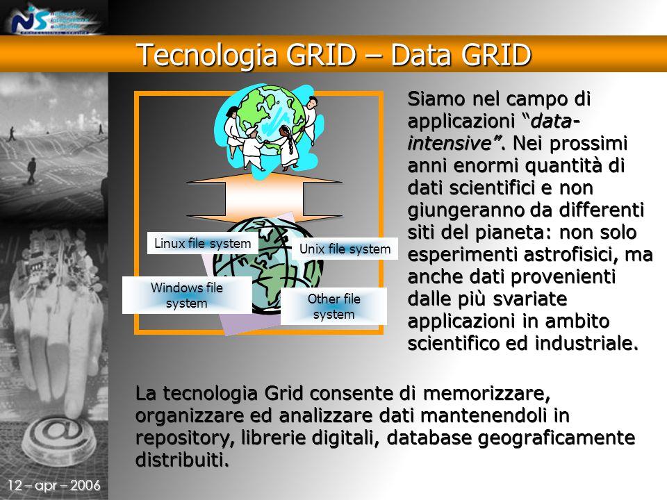 12 – apr – 2006 La tecnologia Grid consente di memorizzare, organizzare ed analizzare dati mantenendoli in repository, librerie digitali, database geograficamente distribuiti.
