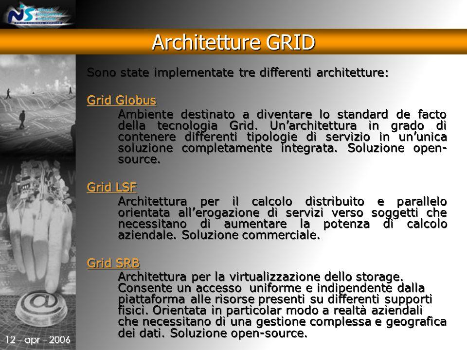 12 – apr – 2006 Sono state implementate tre differenti architetture: Grid Globus Ambiente destinato a diventare lo standard de facto della tecnologia Grid.