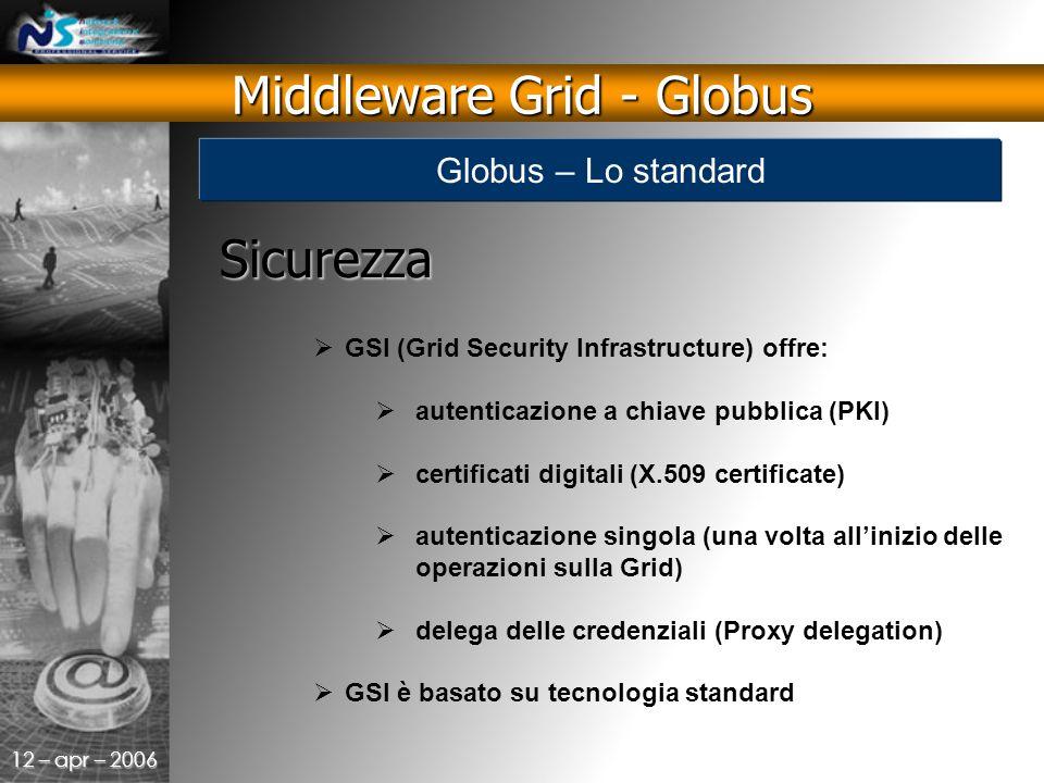 12 – apr – 2006 Sicurezza  GSI (Grid Security Infrastructure) offre:  autenticazione a chiave pubblica (PKI)  certificati digitali (X.509 certificate)  autenticazione singola (una volta all'inizio delle operazioni sulla Grid)  delega delle credenziali (Proxy delegation)  GSI è basato su tecnologia standard Middleware Grid - Globus Globus – Lo standard