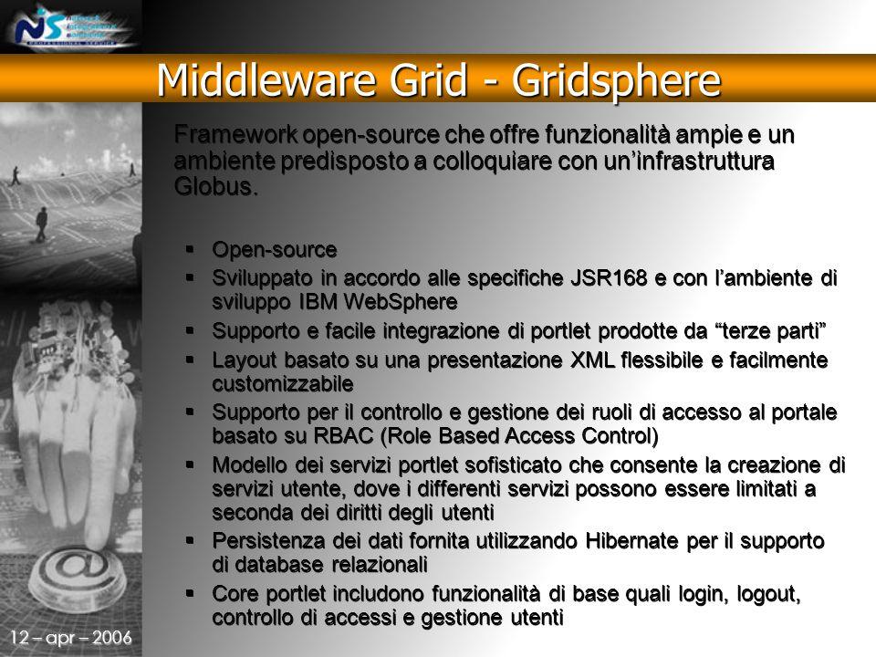 12 – apr – 2006 Framework open-source che offre funzionalità ampie e un ambiente predisposto a colloquiare con un'infrastruttura Globus.