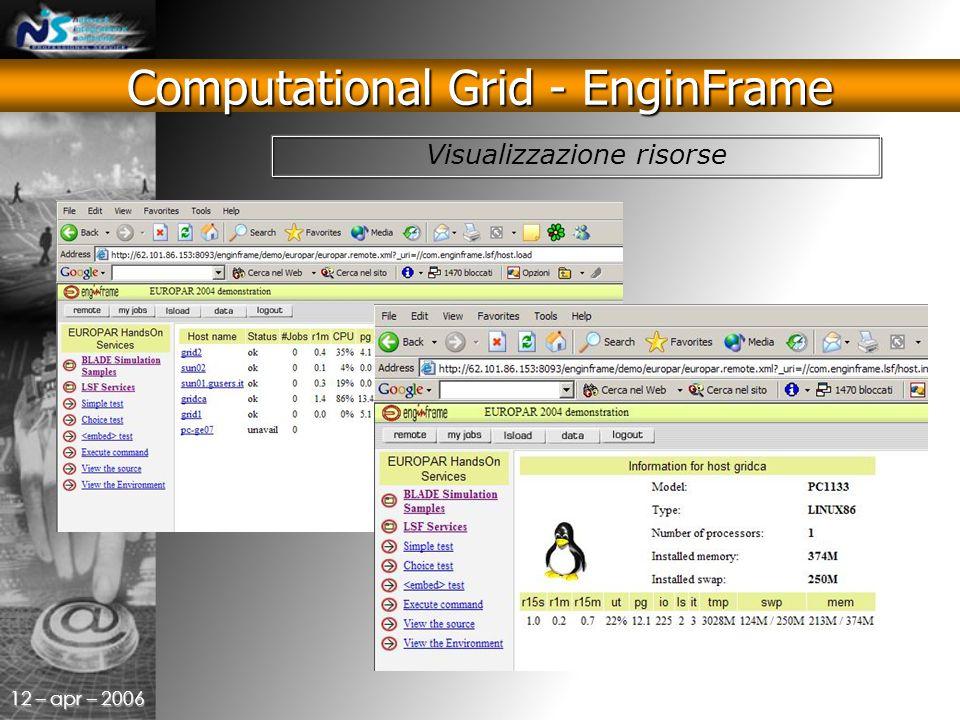 12 – apr – 2006 Visualizzazione risorse Computational Grid - EnginFrame