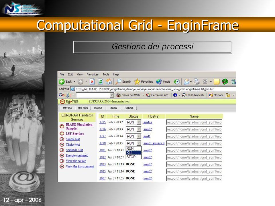 12 – apr – 2006 Gestione dei processi Computational Grid - EnginFrame