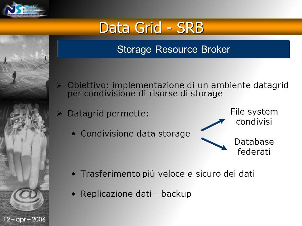 12 – apr – 2006  Obiettivo: implementazione di un ambiente datagrid per condivisione di risorse di storage  Datagrid permette: Condivisione data storage Trasferimento più veloce e sicuro dei dati Replicazione dati - backup File system condivisi Database federati Data Grid - SRB Storage Resource Broker