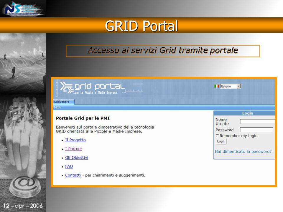 12 – apr – 2006 Accesso ai servizi Grid tramite portale GRID Portal