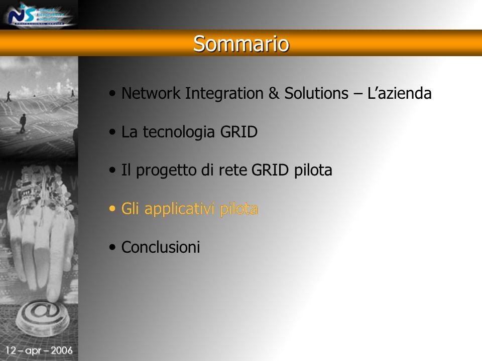 12 – apr – 2006 Sommario Network Integration & Solutions – L'azienda La tecnologia GRID Il progetto di rete GRID pilota Gli applicativi pilota Conclusioni Gli applicativi pilota