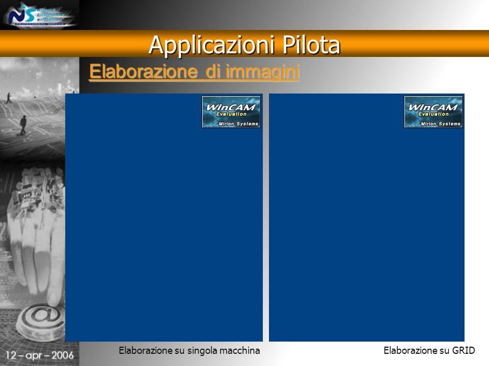 12 – apr – 2006 Elaborazione di immagini Elaborazione su singola macchinaElaborazione su GRID Applicazioni Pilota