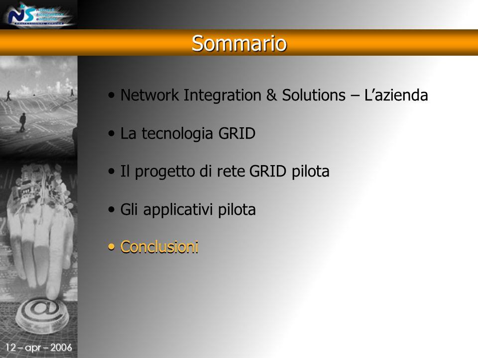 12 – apr – 2006 Sommario Network Integration & Solutions – L'azienda La tecnologia GRID Il progetto di rete GRID pilota Gli applicativi pilota Conclusioni
