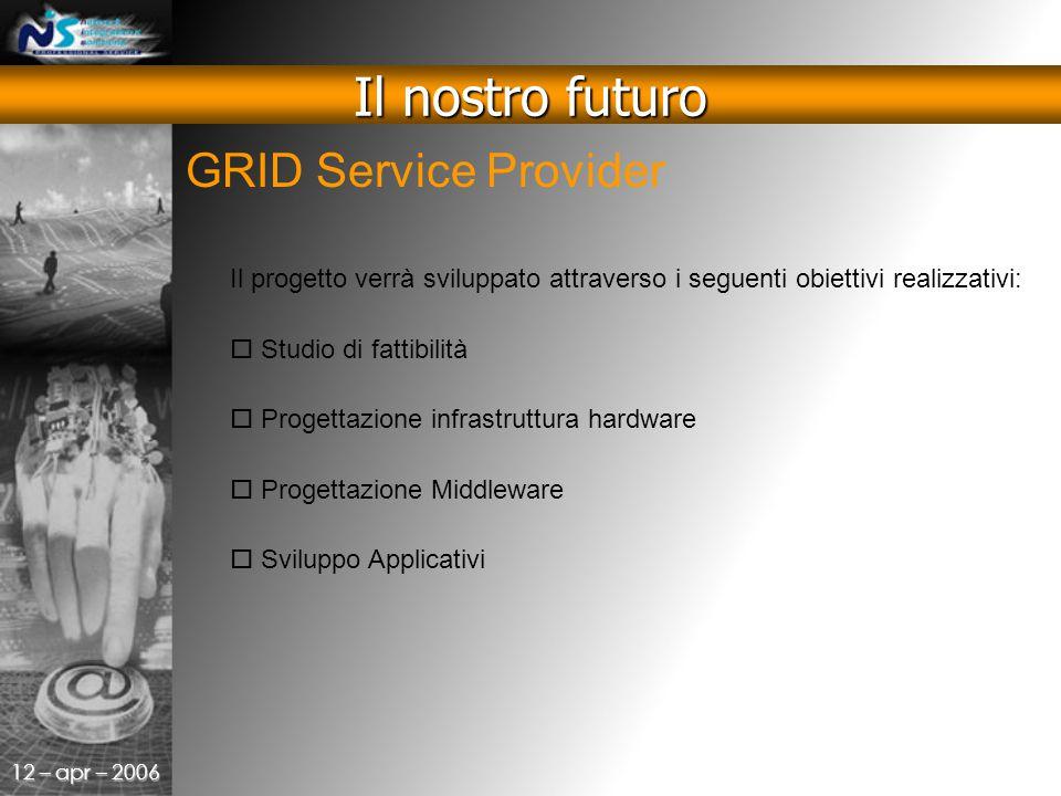 12 – apr – 2006 GRID Service Provider Il nostro futuro Il progetto verrà sviluppato attraverso i seguenti obiettivi realizzativi:  Studio di fattibilità  Progettazione infrastruttura hardware  Progettazione Middleware  Sviluppo Applicativi