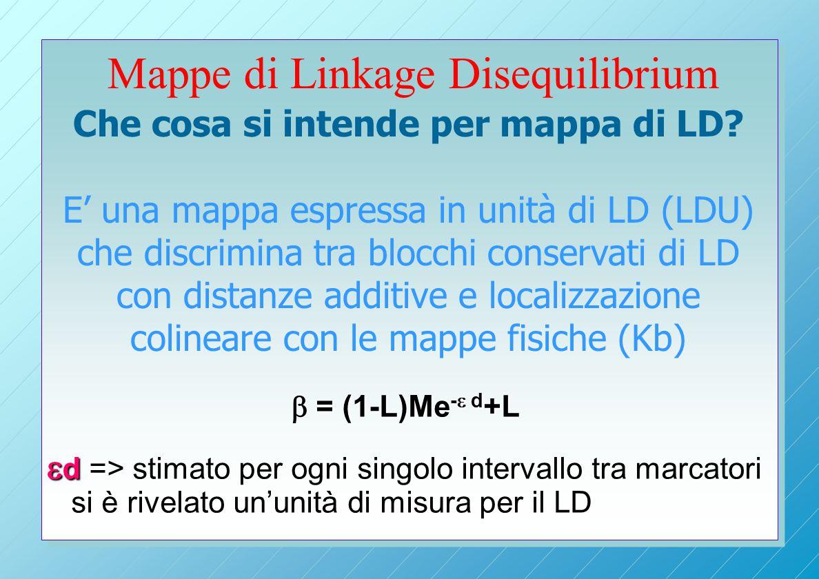 Mappe di Linkage Disequilibrium  = (1-L)Me -  d +L  d => stimato per ogni singolo intervallo tra marcatori si è rivelato un'unità di misura per il LD Che cosa si intende per mappa di LD.