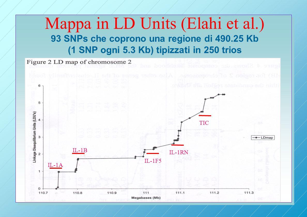 Mappa in LD Units (Elahi et al.) 93 SNPs che coprono una regione di 490.25 Kb (1 SNP ogni 5.3 Kb) tipizzati in 250 trios IL-1A IL-1B IL-1F5 IL-1RN TIC