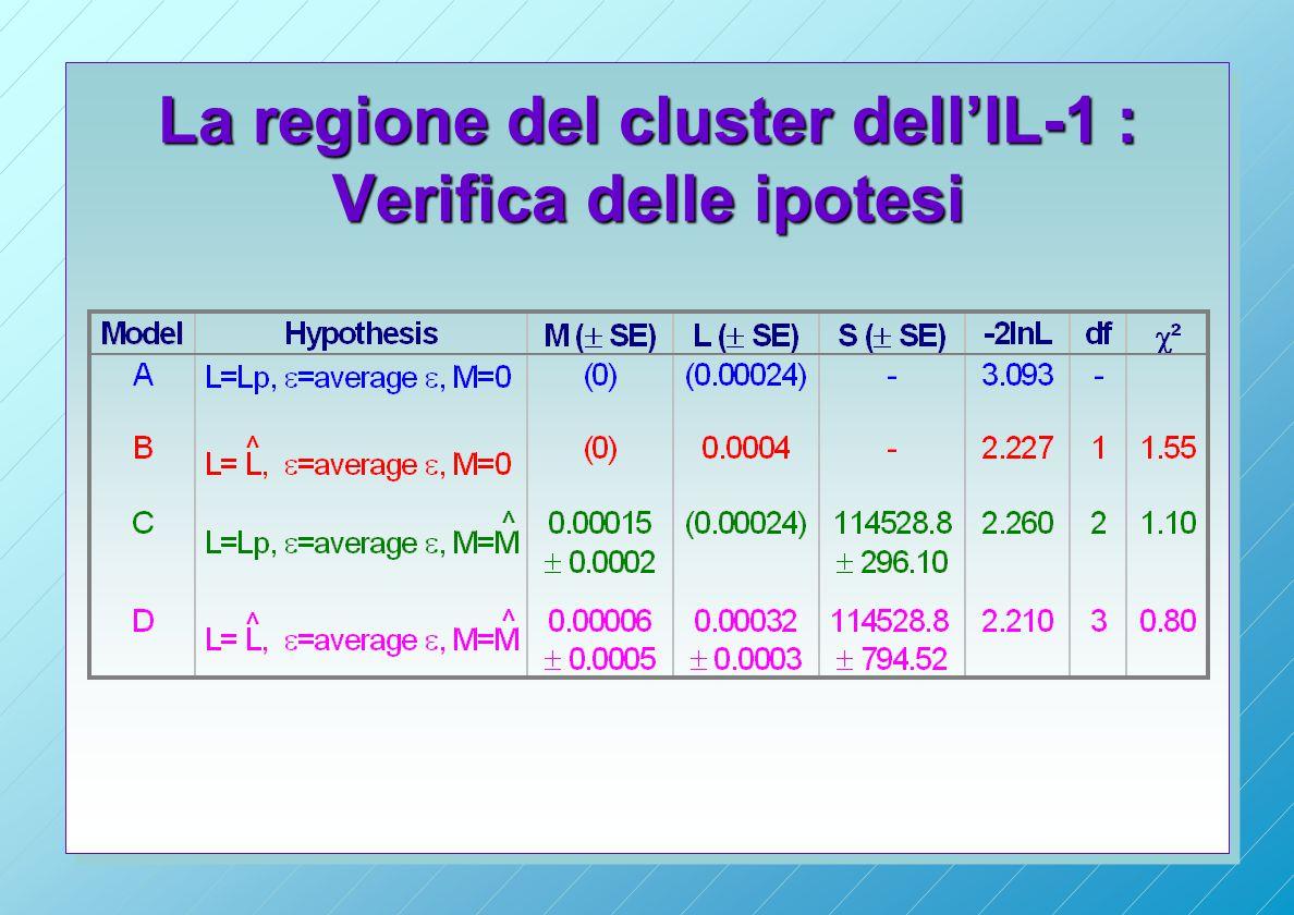 La regione del cluster dell'IL-1 : Verifica delle ipotesi