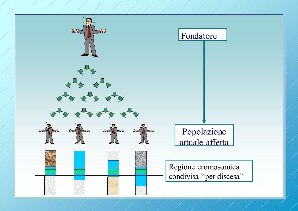 Fondatore Popolazione attuale affetta Regione cromosomica condivisa per discesa