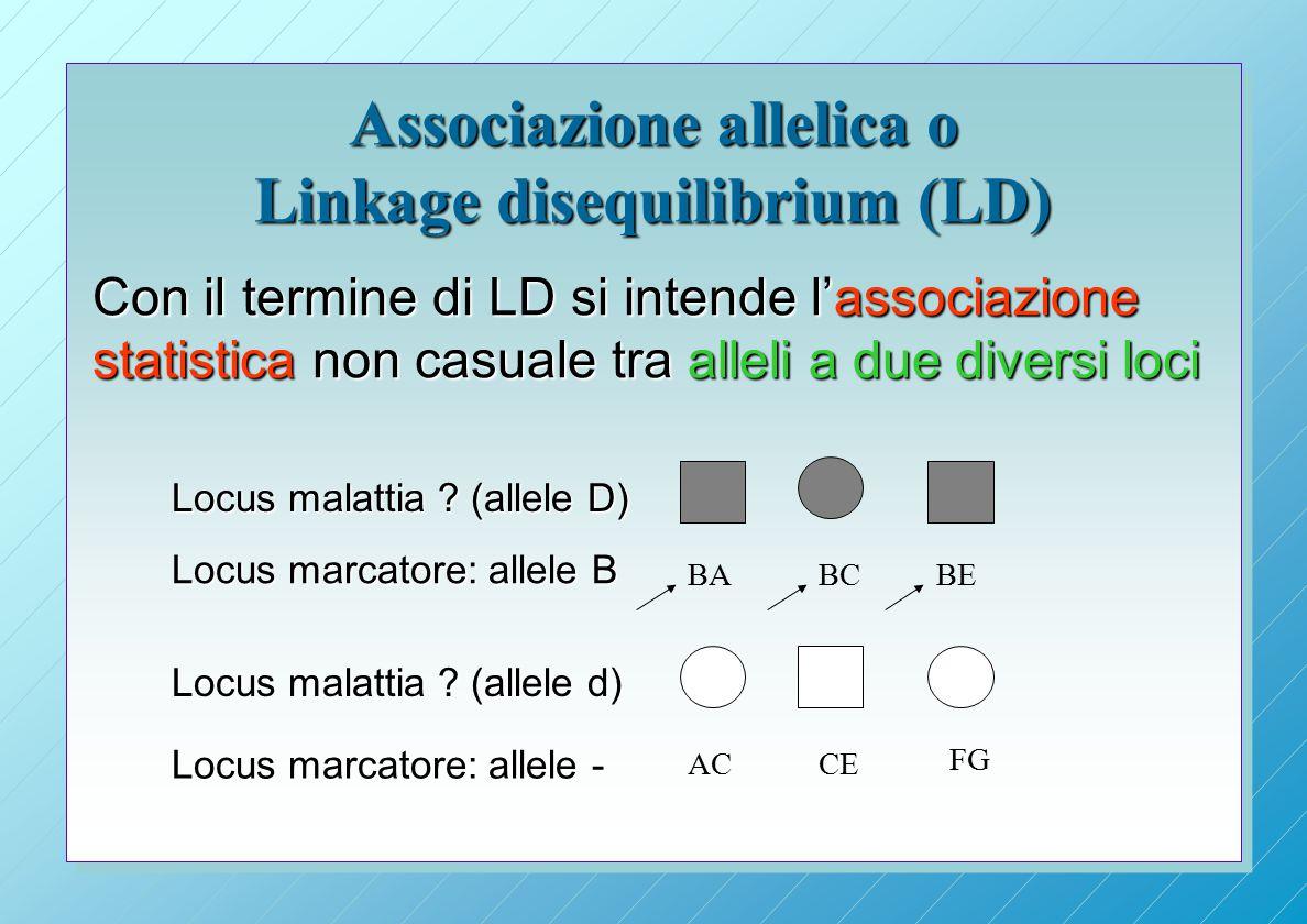 Associazione allelica o Linkage disequilibrium (LD) Con il termine di LD si intende l'associazione statistica non casuale tra alleli a due diversi loci ACCE FG BABEBC Locus malattia .