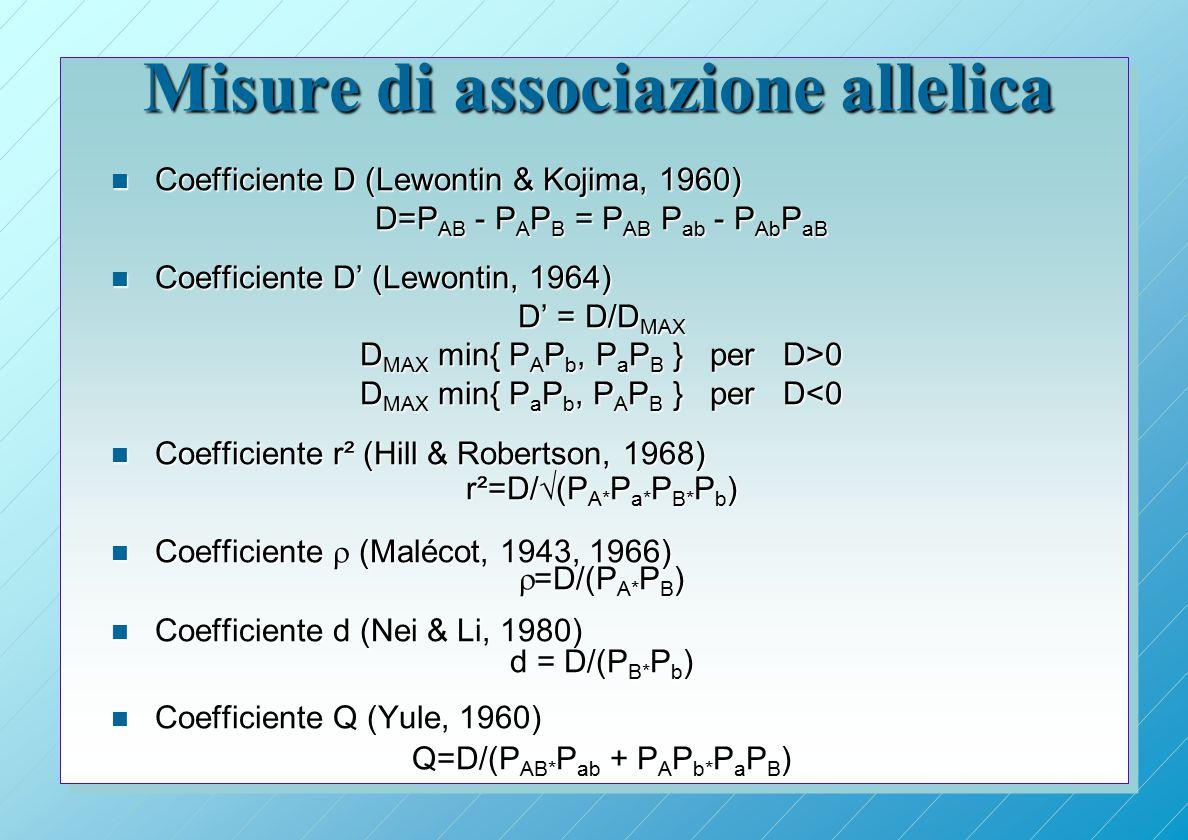 Misure di associazione allelica n Coefficiente D (Lewontin & Kojima, 1960) D=P AB - P A P B = P AB P ab - P Ab P aB n Coefficiente D' (Lewontin, 1964) D' = D/D MAX D MAX min{ P A P b, P a P B } per D>0 D MAX min{ P a P b, P A P B } per D<0 n Coefficiente r² (Hill & Robertson, 1968) r²=D/  (P A* P a* P B* P b ) n Coefficiente  (Malécot, 1943, 1966)  =D/(P A* P B ) n Coefficiente d (Nei & Li, 1980) d = D/(P B* P b ) n Coefficiente Q (Yule, 1960) Q=D/(P AB* P ab + P A P b* P a P B )