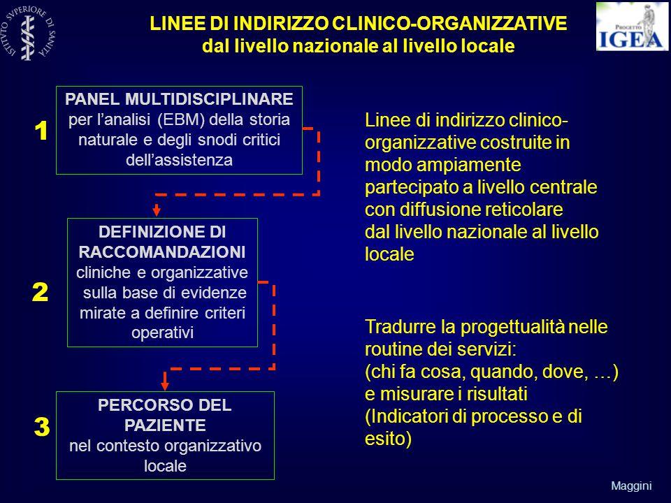 Maggini LINEE DI INDIRIZZO CLINICO-ORGANIZZATIVE dal livello nazionale al livello locale PANEL MULTIDISCIPLINARE per l'analisi (EBM) della storia naturale e degli snodi critici dell'assistenza DEFINIZIONE DI RACCOMANDAZIONI cliniche e organizzative sulla base di evidenze mirate a definire criteri operativi PERCORSO DEL PAZIENTE nel contesto organizzativo locale 1 2 3 Linee di indirizzo clinico- organizzative costruite in modo ampiamente partecipato a livello centrale con diffusione reticolare dal livello nazionale al livello locale Tradurre la progettualità nelle routine dei servizi: (chi fa cosa, quando, dove, …) e misurare i risultati (Indicatori di processo e di esito)