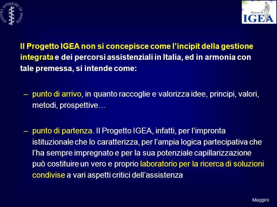 Maggini Il Progetto IGEA non si concepisce come l'incipit della gestione integrata e dei percorsi assistenziali in Italia, ed in armonia con tale premessa, si intende come: –punto di arrivo, in quanto raccoglie e valorizza idee, principi, valori, metodi, prospettive… –punto di partenza.