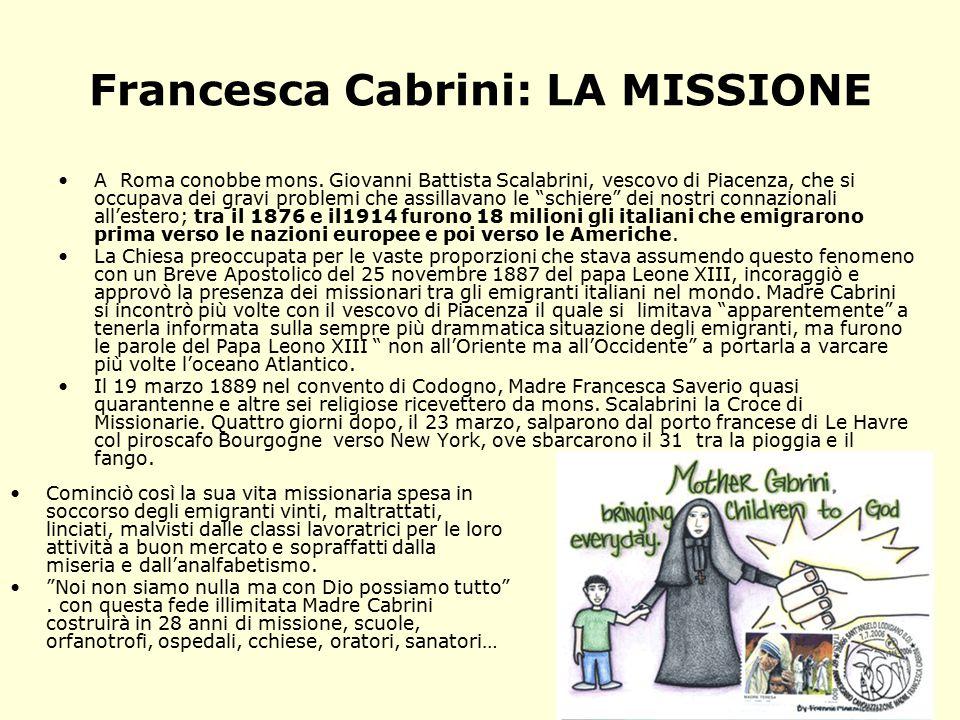 Francesca Cabrini: LA MISSIONE A Roma conobbe mons.