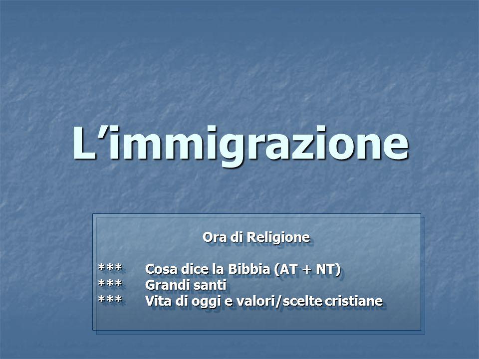 L'immigrazione Ora di Religione *** Cosa dice la Bibbia (AT + NT) ***Grandi santi ***Vita di oggi e valori/scelte cristiane Ora di Religione *** Cosa dice la Bibbia (AT + NT) ***Grandi santi ***Vita di oggi e valori/scelte cristiane