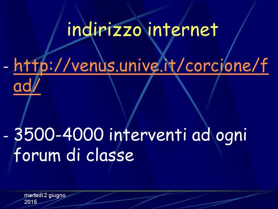 martedì 2 giugno 2015 indirizzo internet - http://venus.unive.it/corcione/f ad/ http://venus.unive.it/corcione/f ad/ - 3500-4000 interventi ad ogni forum di classe