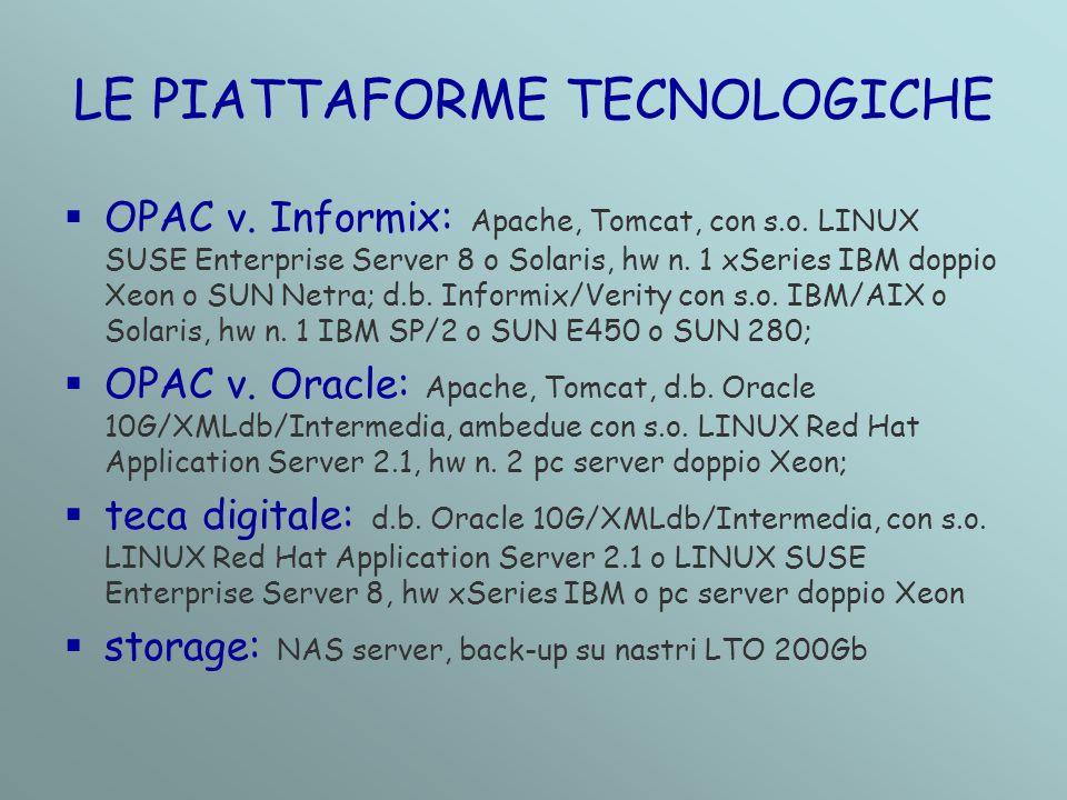 LE PIATTAFORME TECNOLOGICHE  OPAC v. Informix: Apache, Tomcat, con s.o.
