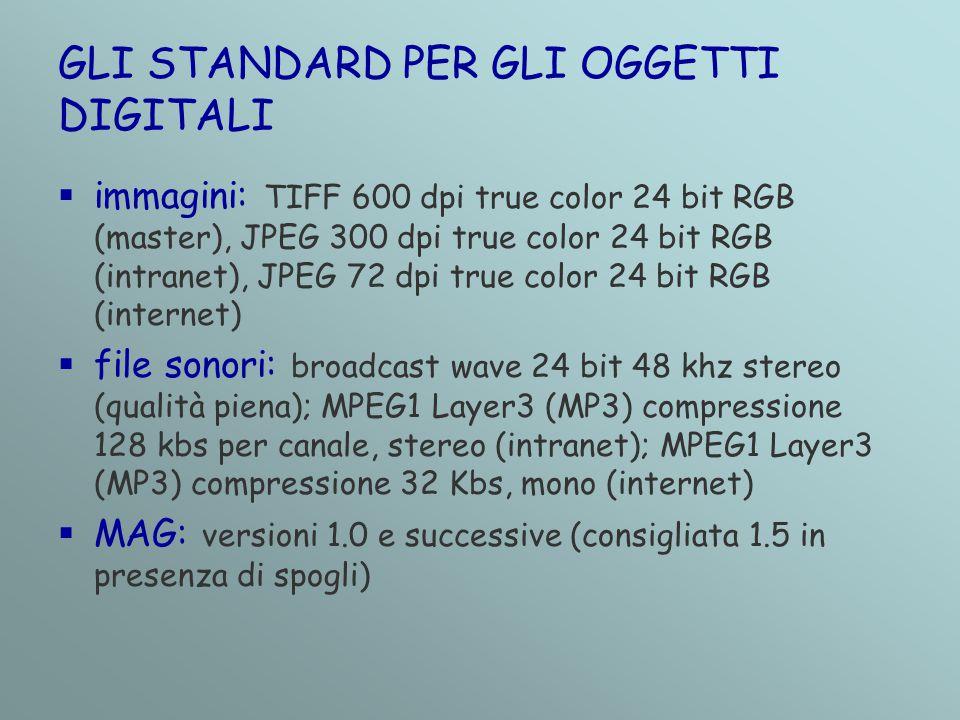 GLI STANDARD PER GLI OGGETTI DIGITALI  immagini: TIFF 600 dpi true color 24 bit RGB (master), JPEG 300 dpi true color 24 bit RGB (intranet), JPEG 72 dpi true color 24 bit RGB (internet)  file sonori: broadcast wave 24 bit 48 khz stereo (qualità piena); MPEG1 Layer3 (MP3) compressione 128 kbs per canale, stereo (intranet); MPEG1 Layer3 (MP3) compressione 32 Kbs, mono (internet)  MAG: versioni 1.0 e successive (consigliata 1.5 in presenza di spogli)
