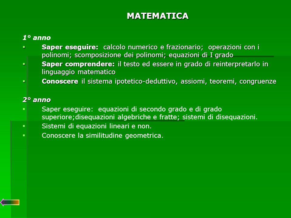 MATEMATICA 3° anno  Saper eseguire: disequazioni con valori assoluti, irrazionali, logaritmiche, esponenziali e trigonometriche.