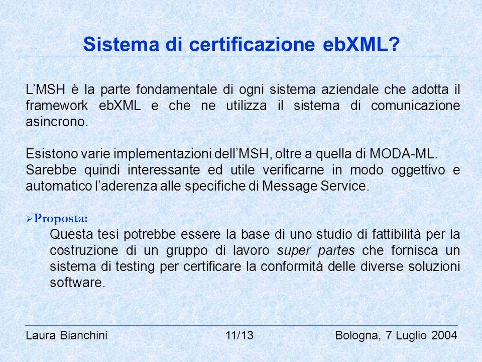 Laura Bianchini 11/13 Bologna, 7 Luglio 2004 Sistema di certificazione ebXML? L'MSH è la parte fondamentale di ogni sistema aziendale che adotta il fr