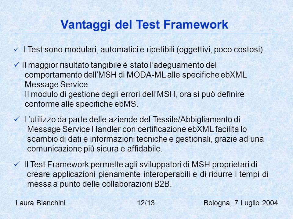 Laura Bianchini 12/13 Bologna, 7 Luglio 2004 Vantaggi del Test Framework I Test sono modulari, automatici e ripetibili (oggettivi, poco costosi) Il maggior risultato tangibile è stato l'adeguamento del comportamento dell'MSH di MODA-ML alle specifiche ebXML Message Service.