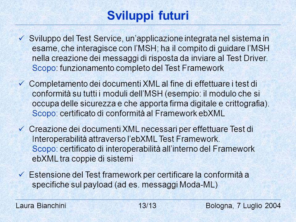 Laura Bianchini 13/13 Bologna, 7 Luglio 2004 Sviluppi futuri Sviluppo del Test Service, un'applicazione integrata nel sistema in esame, che interagisce con l'MSH; ha il compito di guidare l'MSH nella creazione dei messaggi di risposta da inviare al Test Driver.