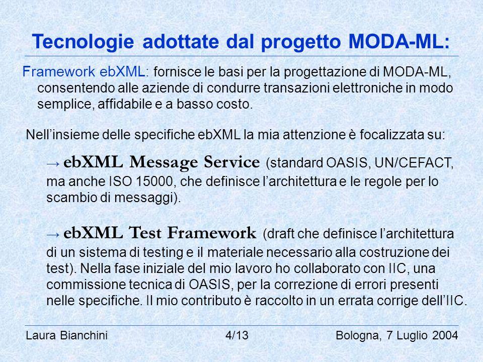 Laura Bianchini 4/13 Bologna, 7 Luglio 2004 Tecnologie adottate dal progetto MODA-ML: Framework ebXML : fornisce le basi per la progettazione di MODA-ML, consentendo alle aziende di condurre transazioni elettroniche in modo semplice, affidabile e a basso costo.