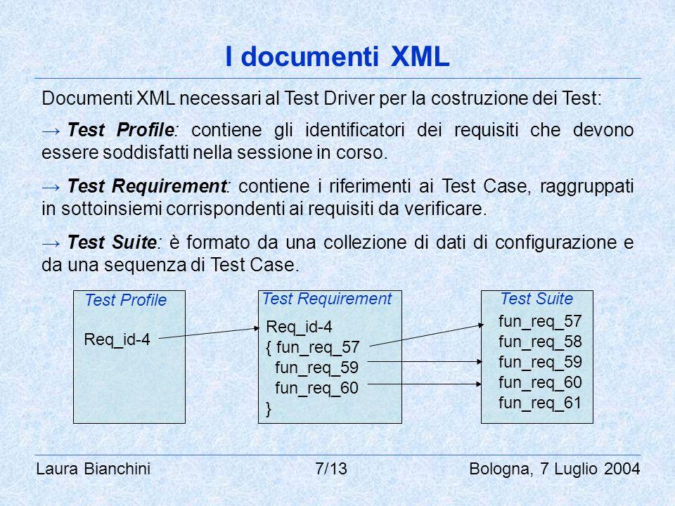 Laura Bianchini 7/13 Bologna, 7 Luglio 2004 I documenti XML Documenti XML necessari al Test Driver per la costruzione dei Test: → Test Profile: contiene gli identificatori dei requisiti che devono essere soddisfatti nella sessione in corso.