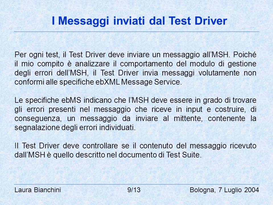Laura Bianchini 9/13 Bologna, 7 Luglio 2004 I Messaggi inviati dal Test Driver Per ogni test, il Test Driver deve inviare un messaggio all'MSH.