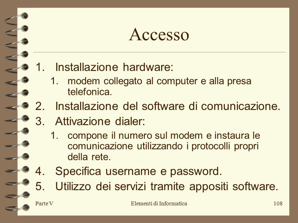 Parte VElementi di Informatica108 Accesso 1.Installazione hardware: 1.modem collegato al computer e alla presa telefonica.