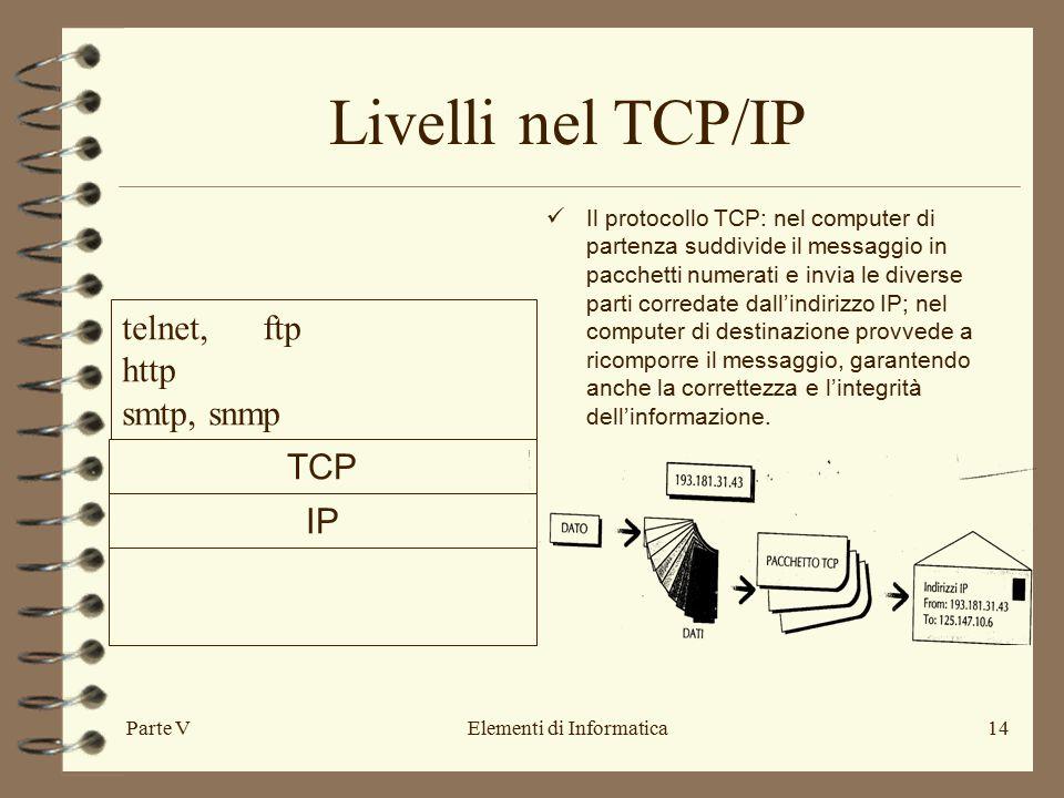 Parte VElementi di Informatica14 Livelli nel TCP/IP IP TCP telnet, ftp http smtp, snmp Il protocollo TCP: nel computer di partenza suddivide il messaggio in pacchetti numerati e invia le diverse parti corredate dall'indirizzo IP; nel computer di destinazione provvede a ricomporre il messaggio, garantendo anche la correttezza e l'integrità dell'informazione.