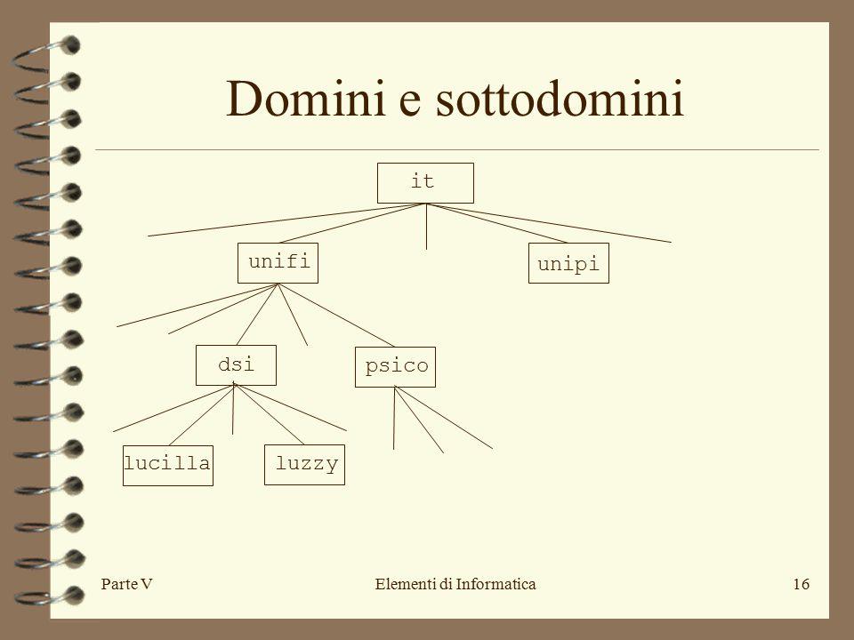 Parte VElementi di Informatica16 Domini e sottodomini unifi it unipi dsi psico lucillaluzzy