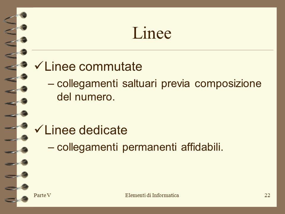 Parte VElementi di Informatica22 Linee Linee commutate –collegamenti saltuari previa composizione del numero.