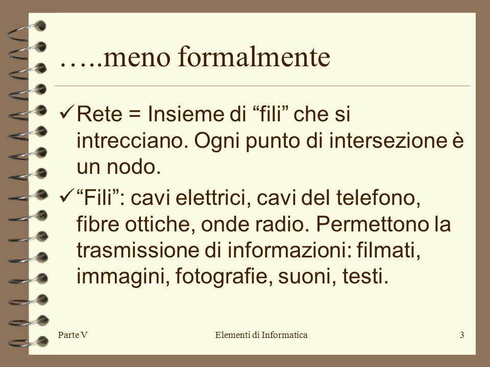 Parte VElementi di Informatica3 …..meno formalmente Rete = Insieme di fili che si intrecciano.
