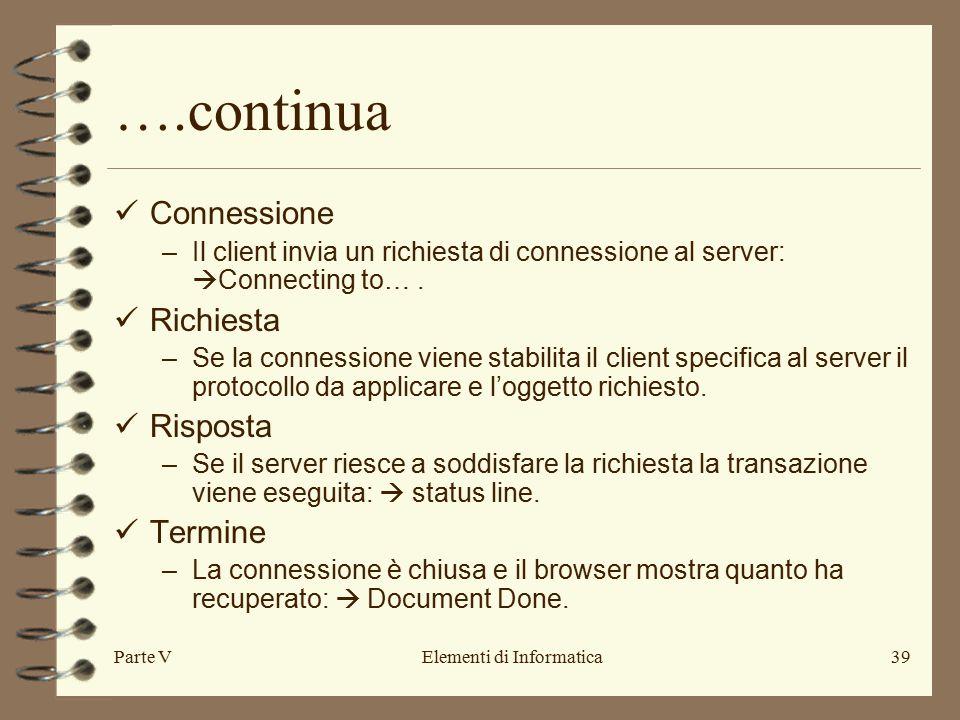 Parte VElementi di Informatica39 ….continua Connessione –Il client invia un richiesta di connessione al server:  Connecting to….