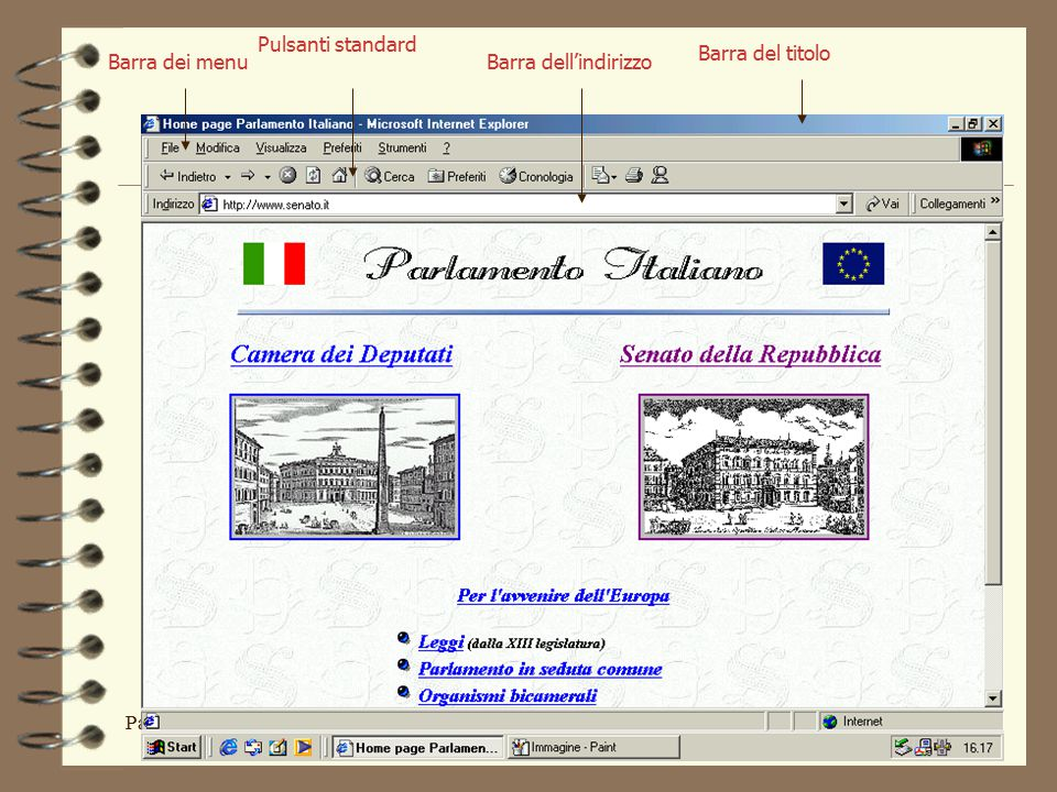Parte VElementi di Informatica40 Barra dei menu Pulsanti standard Barra dell'indirizzo Barra del titolo
