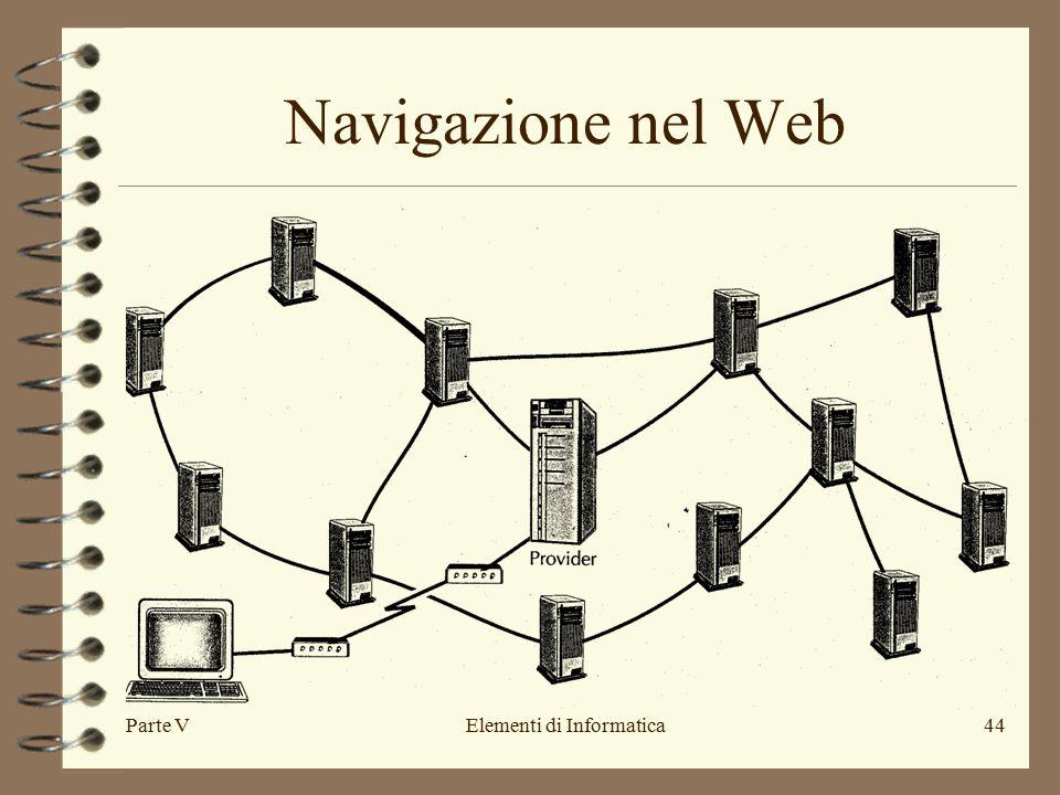 Parte VElementi di Informatica44 Navigazione nel Web
